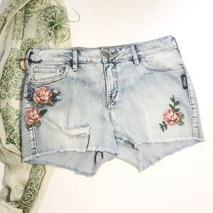 Silver Aiko Embroidered Jean Shorts Mid Rise 29